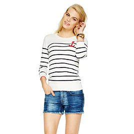 C Wonder Cotton Intarsia Striped Anchor Sweater