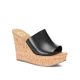 Leather Cork Wedge Slide Sandal