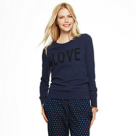 Embellished Love Intarsia Sweater