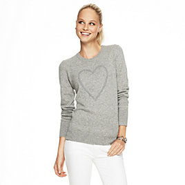 Embellished Heart Intarsia Sweater