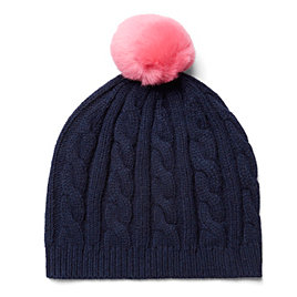 Cable Beanie with Fur Toppers